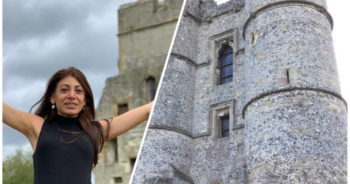 Vafa expressing joy gratitude and freedom infant of Donnington castle in Newbury, UK